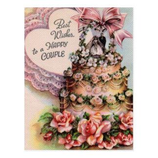 Gâteau de mariage heureux de couples cartes postales