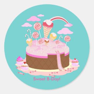 Gâteau de sucrerie et de chocolat pour la fête sticker rond