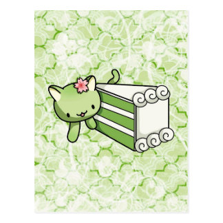 Gateau Matcha Kitty Postcard