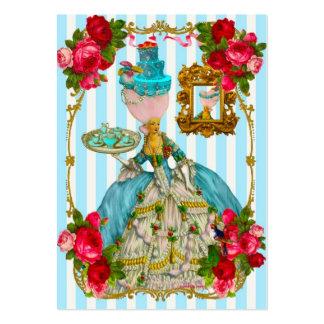 Gâteaux de bleu et cartes de visite de thé de rose modèle de carte de visite