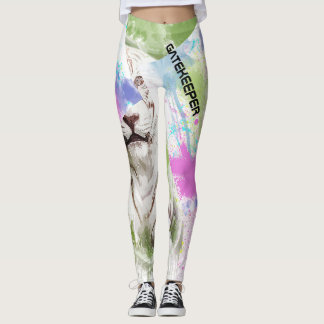 GATEKEEPER White Tiger Watercolor Art Albino Cat Leggings