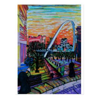 Gateshead Millennium Bridge from Newcastle Postcard