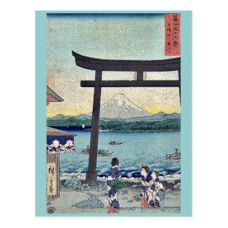 Gateway to Enoshima in Sagami by Ando,Hiroshige Postcard