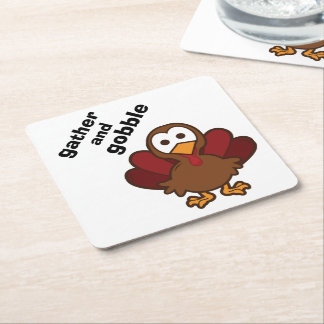 Gather & Gobble Turkey Thanksgiving Party Coasters