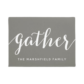 Gather - Modern calligraphy with Family Name Doormat