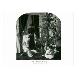 Gather 'round the Tree - Vintage Stereoview Postcard