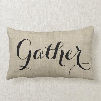 Gather Together Autumn Rustic Burlap Look Pillow