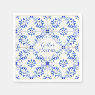 Gather Together Farmhouse Rustic Watercolor Tile Paper Napkin