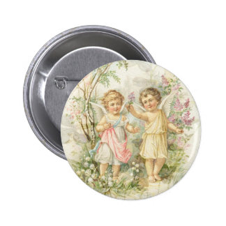 Gather - Two Angels Gathering Flowers 2 Inch Round Button