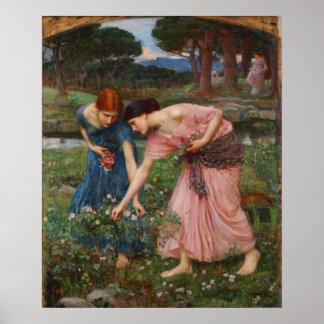 Gather Ye Rosebuds Poster By John W. Waterhouse