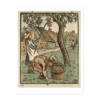 Gathering Apples, from 'Travaux des Champs', engra Postcard