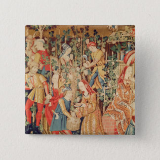 Gathering Grapes, detail of The Grape Harvest 2 Inch Square Button