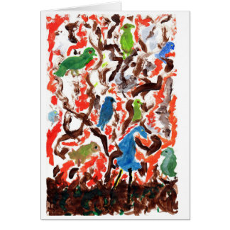 Gathering of Birds in a Tree note card