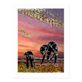 Gathering Shells in Atlantic City Postcard