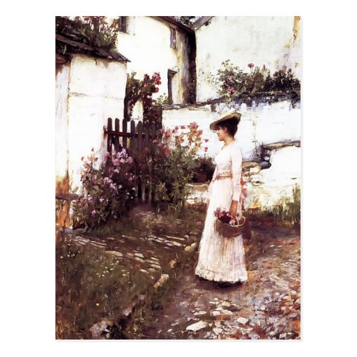 Gathering Summer Flowers by John Waterhouse Postcard