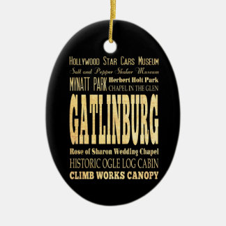 Gatlinburg City of Tennessee Typography Art Ceramic Ornament