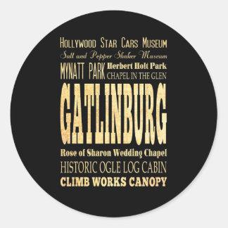 Gatlinburg City of Tennessee Typography Art Round Sticker