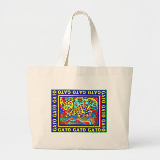 """Gato"" colorful design by david Large Tote Bag"