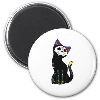 'Gato Muerto' Dia De Los Muertos Cat 2 Inch Round Magnet