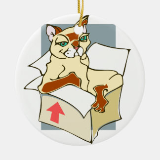 GATO-NO-BOX ROUND CERAMIC ORNAMENT