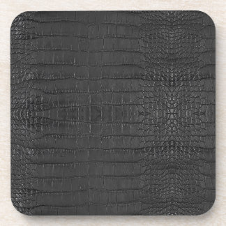 Gator Black Leather Print Coaster