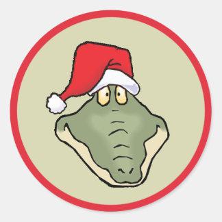 Gator Head Santa Classic Round Sticker