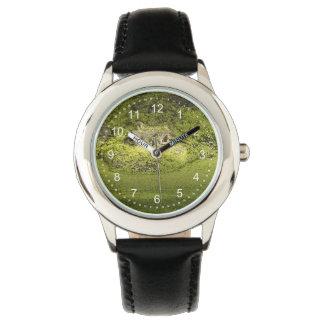 Gator Lurking in Duckweed - Nature Photograph Wrist Watches
