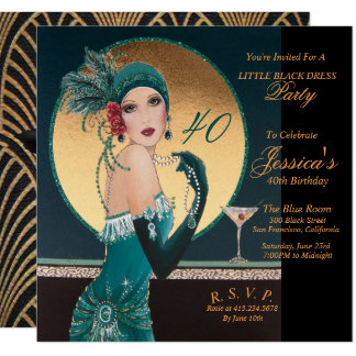 Gatsby Art Deco 40TH Birthday Party Invitations
