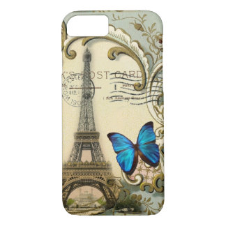 gatsby art deco swirls Vintage paris eiffel tower Case-Mate iPhone Case