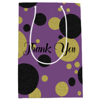 Gatsby Gold Purple Sparkle Polka-Dot Party Bag