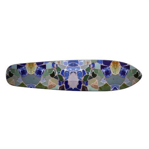 Gaudi Blue Mosaics Mirror Skate Boards