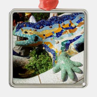Gaudi Lizard Mosaics Silver-Colored Square Ornament