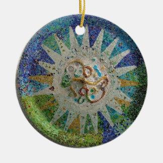 Gaudi Mosaic Round Ceramic Ornament