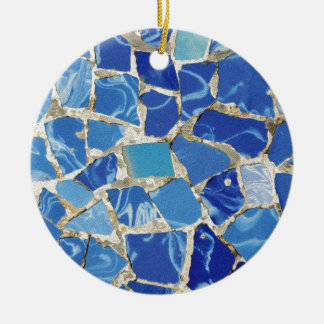 Gaudi Mosaics With an Oil Touch Round Ceramic Ornament