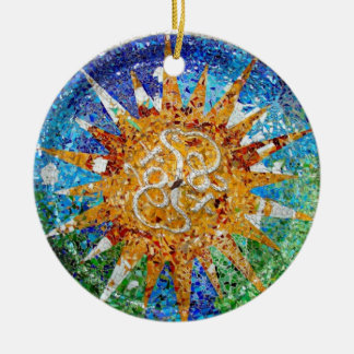 Gaudi Sunburst Mosaic Ornament