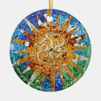 Gaudi Sunburst Mosaic Round Ceramic Ornament