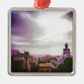 Gaudi's Barcelona Silver-Colored Square Ornament