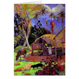 Gauguin - Black Pigs Card