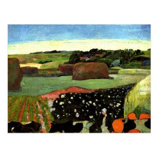 Gauguin - Haystacks in Brittany, Paul Gauguin art Postcard