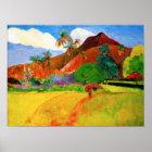 Gauguin Mountains in Tahiti Poster