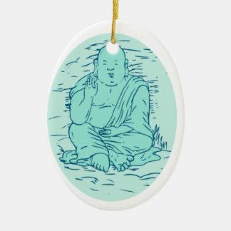 Gautama Buddha Lotus Pose Drawing Ceramic Ornament