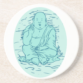 Gautama Buddha Lotus Pose Drawing Coaster
