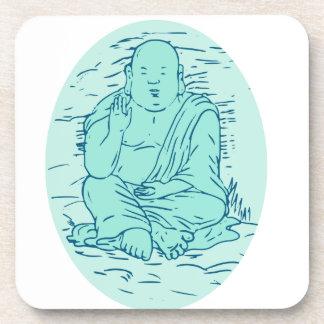 Gautama Buddha Lotus Pose Drawing Coaster