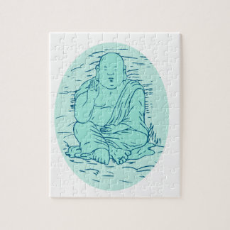 Gautama Buddha Lotus Pose Drawing Jigsaw Puzzle