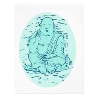 Gautama Buddha Lotus Pose Drawing Letterhead
