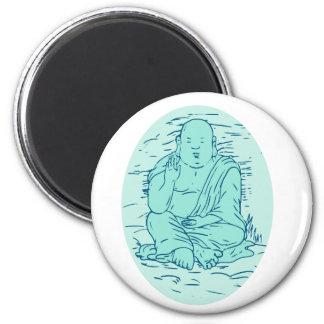 Gautama Buddha Lotus Pose Drawing Magnet