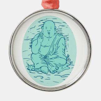Gautama Buddha Lotus Pose Drawing Metal Ornament