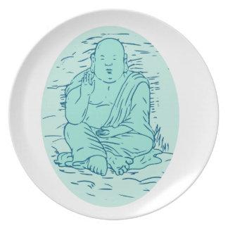 Gautama Buddha Lotus Pose Drawing Plate