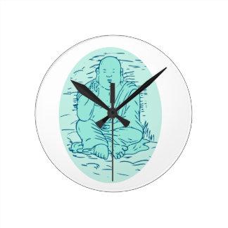 Gautama Buddha Lotus Pose Drawing Round Clock