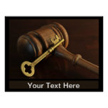 Gavel and Skeleton Key with copy space Poster